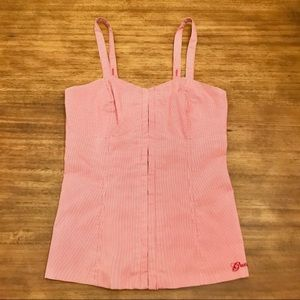 Guess Red & White Corset Bustier Tank